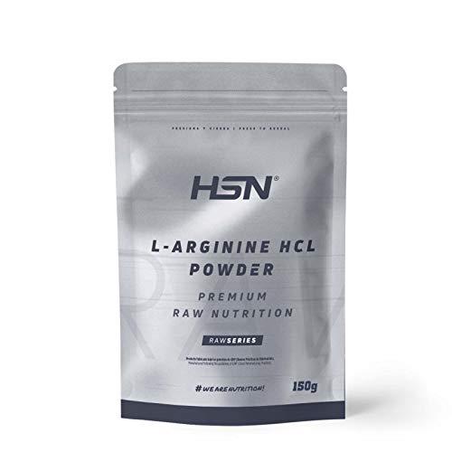 Arginina HCL en Polvo de HSN | Fórmula para Liberar Óxido Nítrico | Suplemento Deportivo para el Rendimiento | Vegano, Sin Lactosa, Sin Gluten, Sin Sabor, 150gr