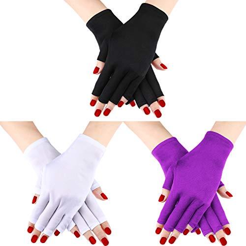 3 Paar UV Shield Handschuh Gel Maniküre Handschuh Anti UV Fingerlose Handschuhe Schützen die Hände vor UV-Licht Lampe Maniküre Trockner (Farbe Set 2)