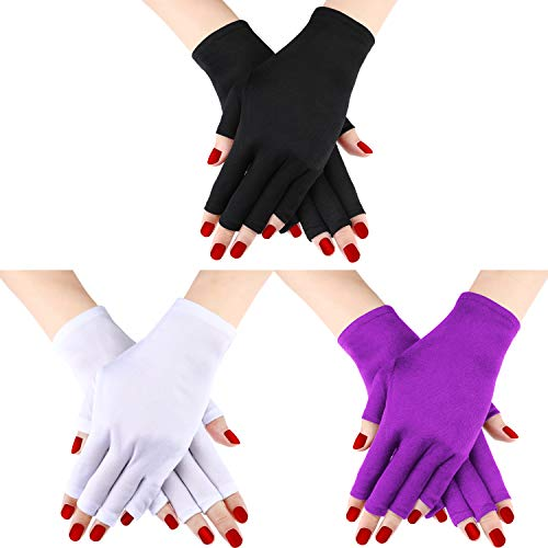 guanti manicure Guanti da 3 paia di guanti protettivi per guanti anti-UV Guanti anti-UV per guanti protettivi proteggono le mani dai raggi UV della lampada (Set di colori 2)