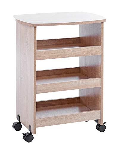 ts-ideen Beistelltisch auf Rollen Ablage Rollcontainer Bücherbord Holz Eiche Sonoma 60 x 49 cm