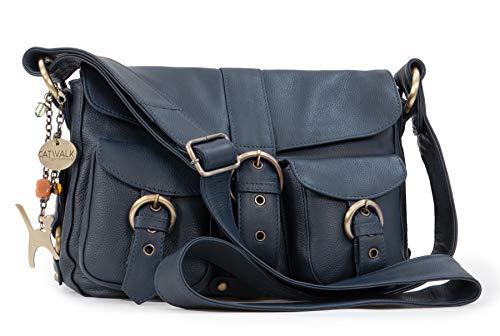 Catwalk Collection Handbags - Leder - Umhängetasche/Schultertasche - LOUISA - Marine Blau