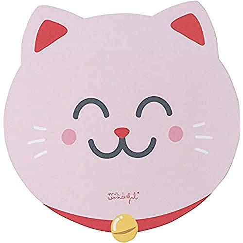 Mr. Wonderful Alfombrilla para Ratón con Forma de Gato Rosa de la Suerte