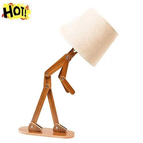 TAI Mann Holz Schreibtischlampe Mit Retro Lampenschirm DIY Flexible Swing Arm Beistelltisch Licht Für Kinder Jungen Schlafzimmer Wohnzimmer,Walnut