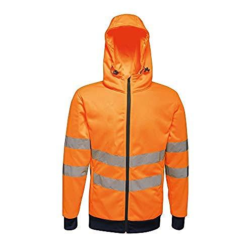 Regatta Sweat à Capuche réfléchissant Full Zip Stretch pour Hommes (XL) (Orange/Bleu Marine)
