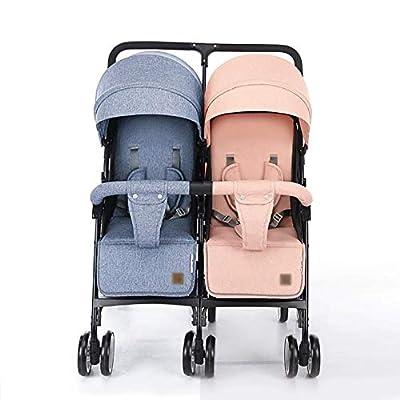 LQRYJDZ Cochecito de bebé gemelo, Cochecito doble ultraligero ?No se puede dividir?, Diseño compacto, plegable y autónomo, Bolsillo de almacenamiento en el respaldo, 2 bolsillos de malla en el asiento