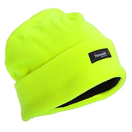 Floso® Herren Hi Vis Thinsulate Thermo Fleece Wintermütze/Beanie (Einheitsgröße) (Neongelb)