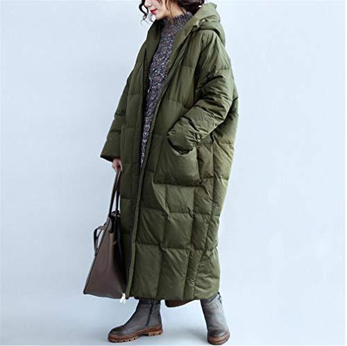 Elegance-Z vrouwen worden afgedekt met een afgezette jas, met ritssluiting met capuchon, houdt de eend warm wit, gewatteerd, jas - donkergroen