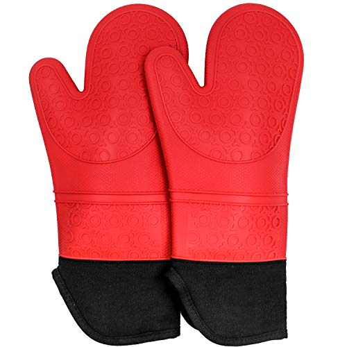 Silicone Oven Mitts,Non Slip Oven Mitt Heat Resistant Oven Gloves with Cotton Lining for Kitchen Cooking BBQ Baking Mitts,1 Pair,14.9 Inch