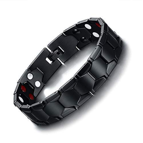 Moneekar Jewels Double Row 4 in 1 Bio Elements Energy Titanium Steel Magnetic Therapy Bracelet