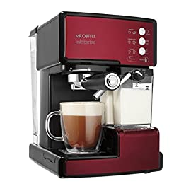 Mr. Coffee cafe barista espresso and cappuccino maker, red - bvmc-ecmp1106 15 semi-automatic 3-in-1 espresso, cappuccino and latte maker 15-bar pump system brews rich-tasting espresso coffee trouble-free automatic milk frother removes the guesswork