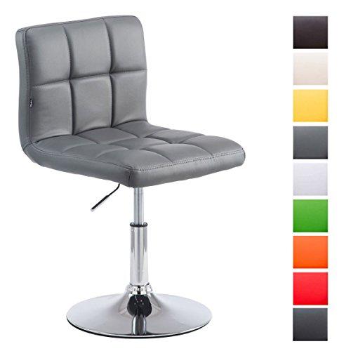 Drehstuhl Palma V2 mit hochwertiger Polsterung und Kunstlederbezug I Höhenverstellbarer Esszimmerstuhl mit Metallgestell in Chrom-Optik, Farbe:grau