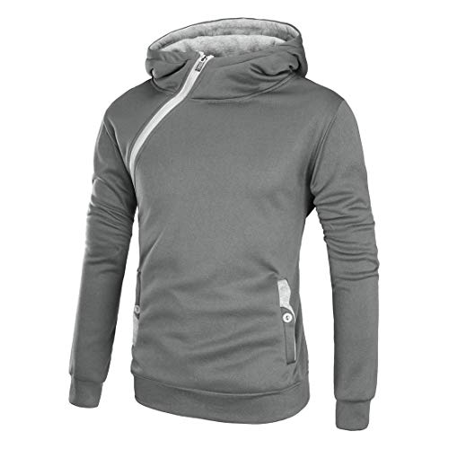 Men Sweatshirt Hip hop Style with Double Pocket Diagonal Zip and Hooded Pullover Casual High Neck Sweatshirt Fashion Spring Autumn Hoodie Sports Leisure Tops 3XL