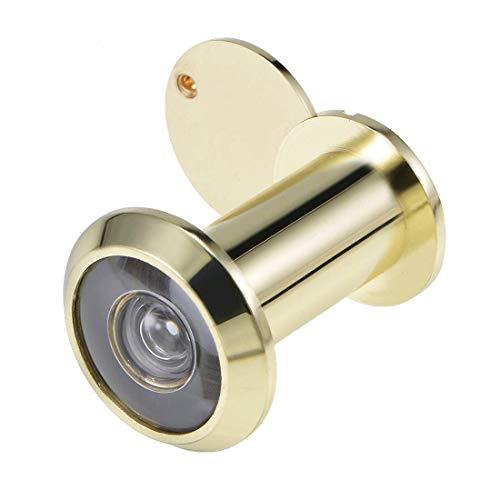 Visor de puerta DyniLao, mirilla visor de puerta de 220 grados de latón macizo con tapa para puertas de 35 mm a 60 mm, acabado dorado pulido