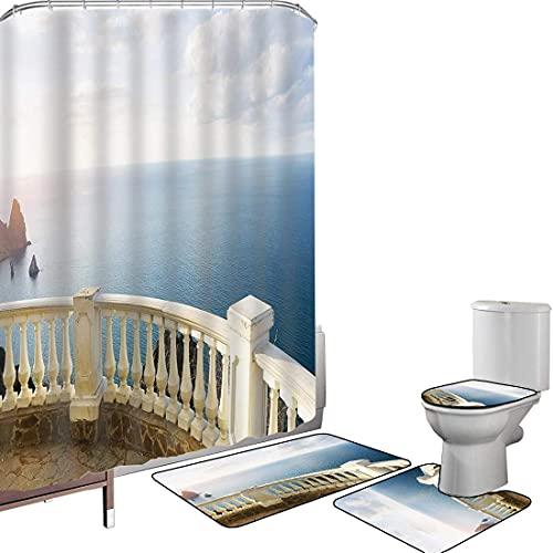 Juego de cortinas baño Accesorios baño alfombras AntiguoDecoración Alfombrilla baño Alfombra contorno...