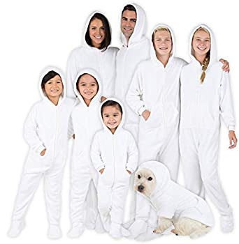 Footed Pajamas - Family Matching Snow White Hoodie Onesies for Boys Girls Men Women and Pets - Toddler - Small  Fits 2 8 - 2 11