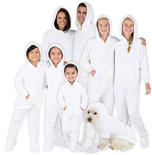 Footed Pajamas - Family Matching Snow White Hoodie Onesies for Boys, Girls, Men, Women and Pets - Adult - Large Plus/Wide (Fits 5'11 - 6'4')
