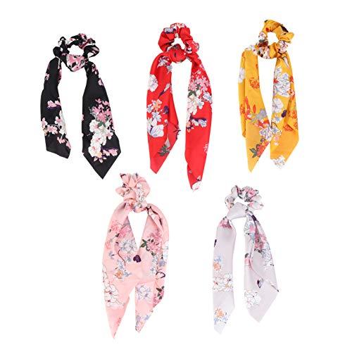 Lurrose 5pcs Bowknot Haargummis Vintage Floral elastische Haarbänder Satin Schal Haargummis für Frauen