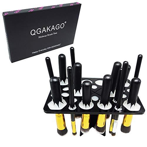 QGAKAGO 28 Hole Makeup Brush Tree Holder Organizer Folding Collapsible Air Drying Tower Brush Dryer