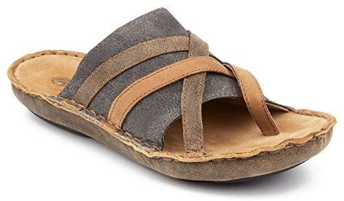 Tamarindo Sanddollar Sandal Women's Leather Softbed Flip Flop - Suntan/Pebble - 7.5