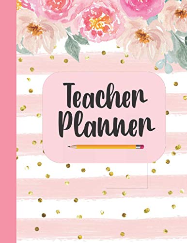 Teacher Planner: Undated Teacher Planner Record Book Organizer For Full Academic Teaching Year, Great Gift for Teachers Under 10 Dollars With Pink Floral Glitter Cover