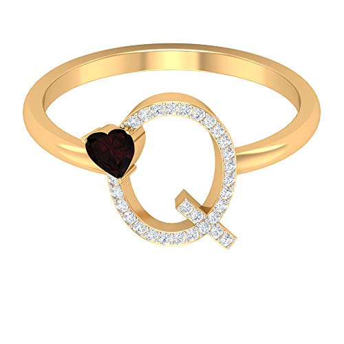 1/4 CT Diamond Initial Q Ring with Heart Cut Garnet (Best Quality), 14K Yellow Gold, Size:UK R1/2