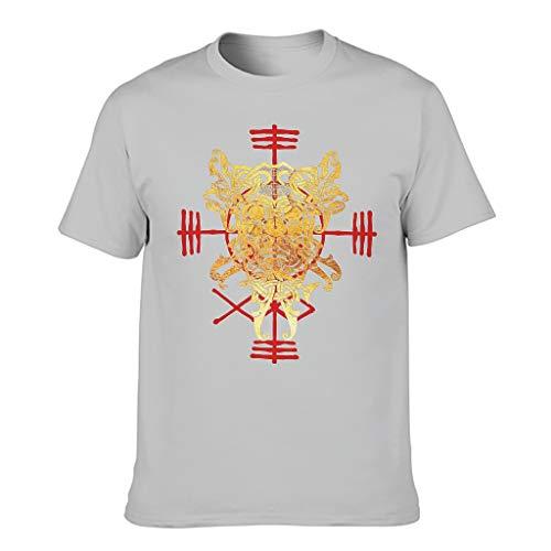 Camiseta de corte seco para hombre, diseño vikingo con nudo celta, diseño de tés Gris plateado. XXXL