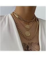 GDcome Holy Layered Necklace Gold Snake Bone Coin Choker Necklaces Layering Pendant Necklace Chain Jewelry for Women Girls