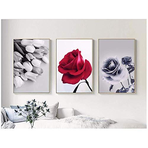 LangGe Kunstplakat im nordischen Stil einfache dekorative Schwarz-Weiß-Rosenbilder Home Room Art Wanddekoration Poster Bildwände 3x40x60cm kein Rahmen