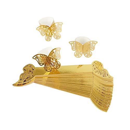 MaoXinTek Serviettenring Schmetterling Papier Serviettenschnalle für Hochzeit Taufe Kommunion Graduierung Geburtstag Weihnachten Bankett 50Pcs Gold