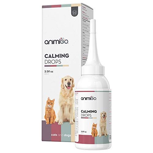 Animigo Calming Drops For Dogs & Cats - Natural Calming Solution For Nervous Pets - Thunder, Separation Anxiety, Fireworks, Stress Rescue Supplement - With Vitamins & Minerals - 100ml Calmer Drops