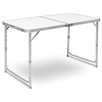 WOLTU® CPT8122sg Table de Camping Pliante Table de Jardin Table de Travail Table de Balcon réglable en Hauteur en Aluminium MDF,Blanc