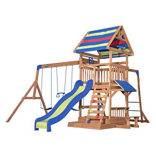 Backyard Discovery Spielturm Holz Northbrook | Spielplatz für Kinder mit Rutsche, Sandkasten, Schaukel und Picknicktisch | Schaukelset für den Garten