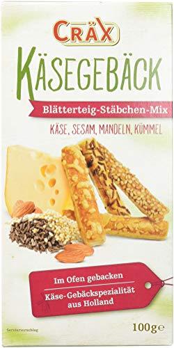 Cräx Käse-Blätterteig Stäbchen Mix mit Käse, Sesam, Mandel, Kümmel, 100g