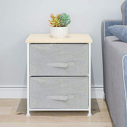 BOJU Grey Bed Night Stand Beside Table for Narrow Small Storage Drawers for Kids Toys Clothes Chest of Drawers for Girl Bedroom Living Room Simple Beside Cabinet (2 Drawers)