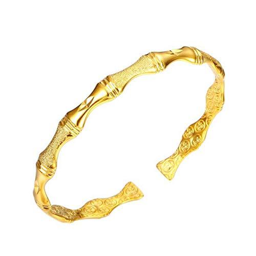 HUSHOUZHUO 24 K Pure Gold Farbe Bamboo Knot Armreifen Und Armbänder Für Frauen Modeschmuck Nickel Frei