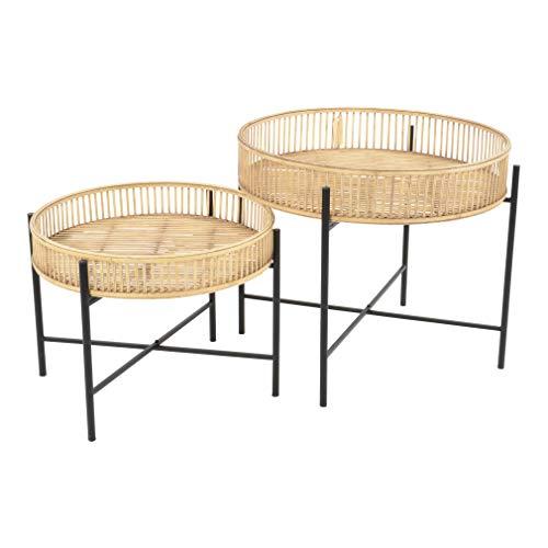 habeig 2er Set Beistelltisch Aiko aus Bambus und Metall für Terasse Garten oder das Haus Tisch Gartentisch Esstisch Natur