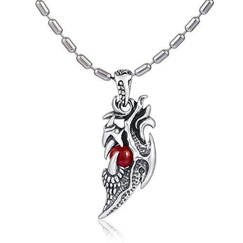 DonDon Collier pour homme en acier inoxydable de 55 cm avec pendentif griffe de dragon en acier inoxydable avec pierre rouge dans une pochette en velours