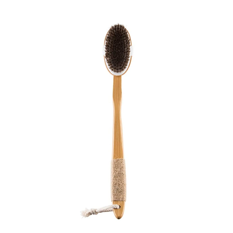 理想的合法少ないSLH シングルヘッド馬毛シャワーブラシロングハンドルオーバルバックアーティファクトソフトヘアバスブラシ