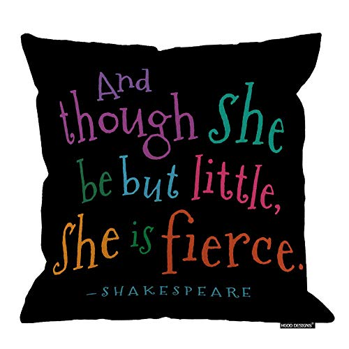 Funny Though She Be But Little Quote Book Group - Funda de almohada cuadrada de lino de algodón (45 x 45 cm)