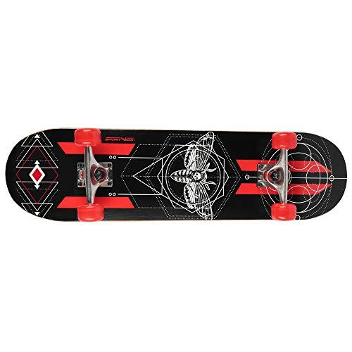 Skateboard Erwachsene mit Kugellager - Skateboard Kinder ab 8 Jahre. Aus Holz Gemacht. Moderne Grafiken. Sportgeräte für Skatepark und für Tricks auf der Rampe (Schwarz - Rot)