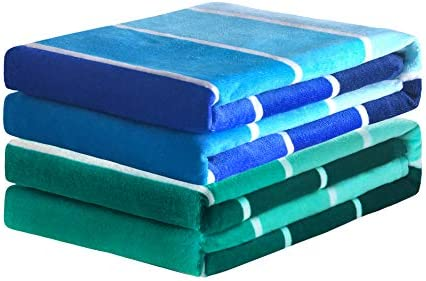 Exclusivo Mezcla 2 Pack 100 Cotton Beach Towel Pool Towel Gradient Striped 30 x 60 Blue Green product image