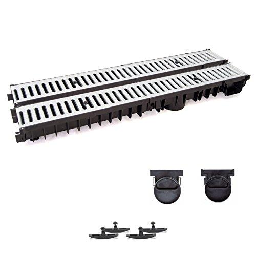 2m Entwässerungsrinne mit Dichtung Tiefe: 100 mm. Belastungsklasse A15. Stahlrost verzink