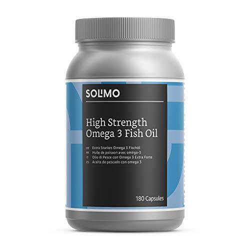 Marca Amazon - Solimo Complemento alimenticio a base de aceite de pescado con omega 3 (1000 mg), 180 cápsulas