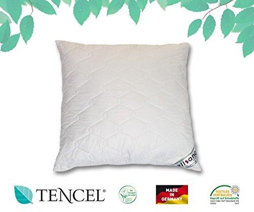allsana Tencel® Klimafaser Kopfkissen 80x80 cm, Lyocell Kopfkissen voll waschbar bei 60°C, voll waschbares Kissen für Allergiker, atmungsaktiv
