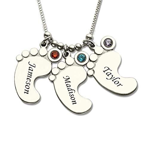 Stɑy Real Personalisierte Babyfuss Namenskette Familienmitglieder Familienkette Mit Geburtsstein Halskette 3 Namen/3 Geburtsstein (45,Silber)