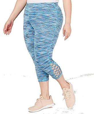 Ideology Women's Plus Size Space-Dyed Cropped Leggings, Coastal Aqua, 2X