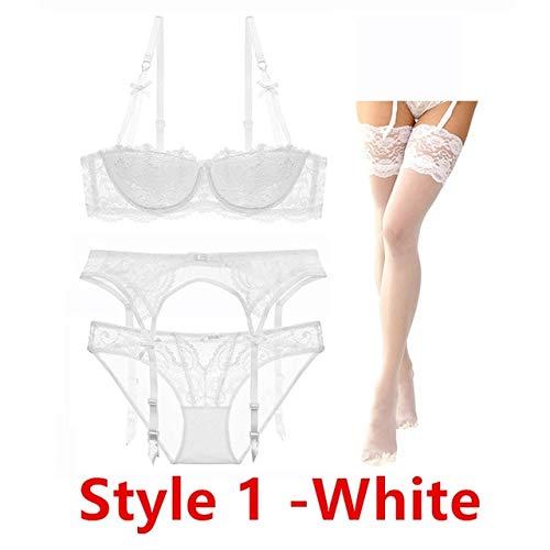 Sexy Spitze dünne Baumwolle Tasse Brust BH-Set (BH + Slip + Strumpfgürtel + Strumpf) 4 Stück/Lose Dessous-Set - Weiß, 80C,