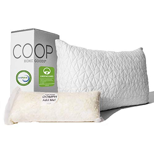 Coop Home Goods - Premium Adjustable Loft Pillow Queen - Hypoallergenic Cross-Cut Memory Foam Fill - Lulltra Washable Cover from Bamboo Derived Rayon - CertiPUR-US/GREENGUARD Gold Certified