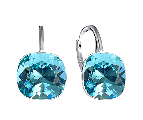 Crystals & Stones, orecchini con cristalli Swarovski, in argento 925 placcato oro 24 carati, per donna, con scatola e Argento, colore: turchese, cod. 7