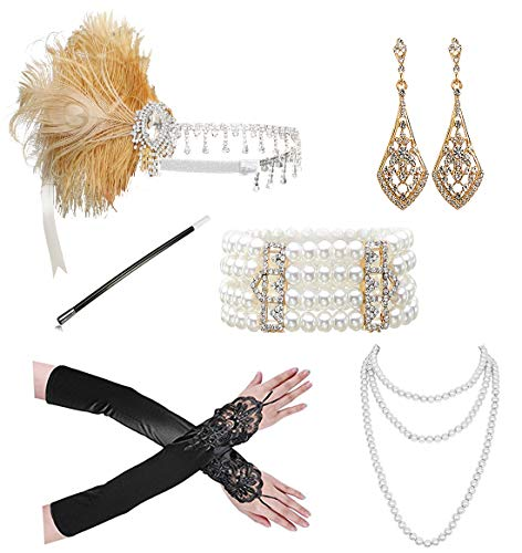 1920s Accessories Headband Necklace Gloves Cigarette Holder Flapper Costume Accessories Set for Women(SET 9)